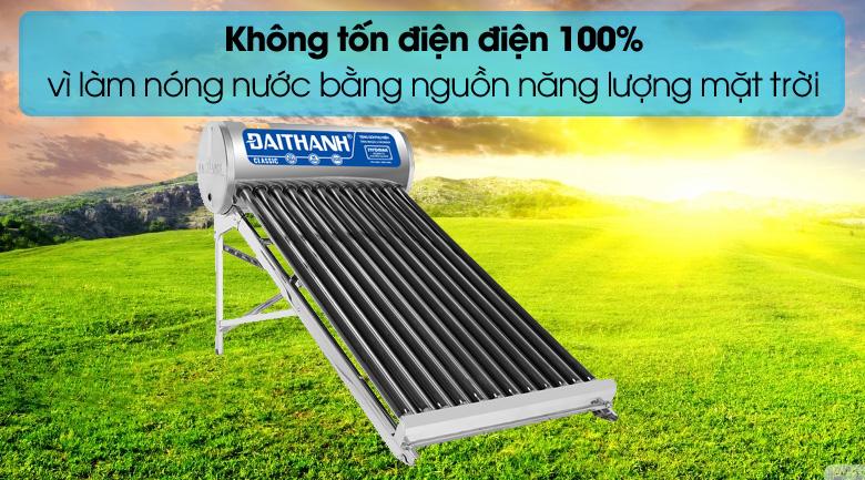 Sử dụng máy nước nóng năng lượng mặt trời không tốn tiền điện.